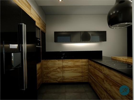 Projekty wnętrz  Kuchnia  Tanganica Bianca TB10 -> Kuchnia Czarna Mat