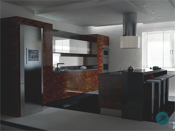 Projekty wnętrz  Kuchnia  Tanganica Bianca TB5 -> Kuchnia Fornir Palisander
